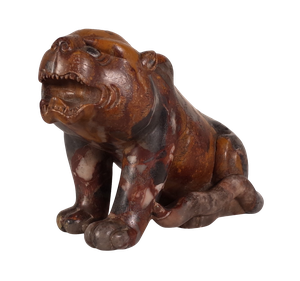 Hand Carved Marble Tiger with Glass Eyes