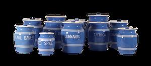 Collection of Eleven Blue Glazed Storage Jars
