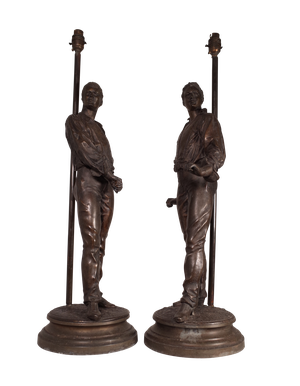 Pair of Spelter Figures of Two Men in Dandy Poses, Adapted into Two Table Lamps.