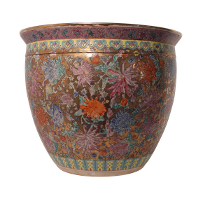 Floral Decorated Ironstone Jardiniere on Gilt Background