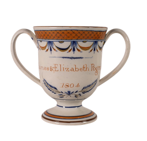 Pearlware Loving Cup Inscribed to James and Elizabeth Podmore
