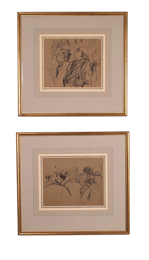 Pair of Crayon Studies of Men in a Crowd and Three Men Looking Up