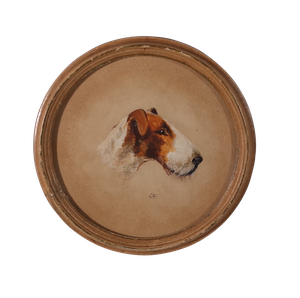 Oil on Board of a Fox Terrier in a Painted Circular Frame