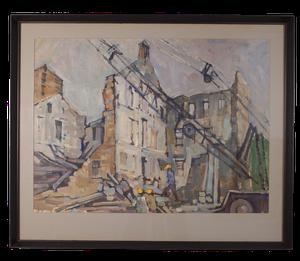 Oil on Paper of a Demolition Site signed Douglas Pittuck