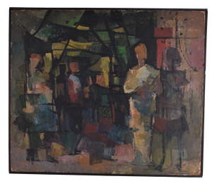Abstract Oil on Board of Figures by Douglas Pittuck