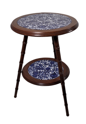 Two Tiered Faux Bamboo Walnut Side Table with Blue and White Ceramic Inserts