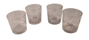 Four Etched Whiskey Tumblers