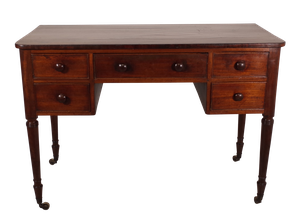 George III Mahogany Writing Table Comprising Five Drawers