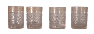 Four Cut and Engraved Whiskey Tumblers