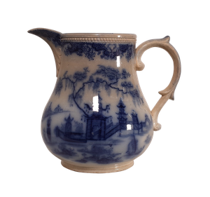 Large Victorian Blue and White Jug with Chinese Landscape Scenes
