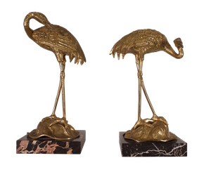 Pair of Brass Cranes on Marble Bases
