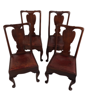 Four Oak and Elm Splat Back Chairs on Carved Padded Feet with Old Leather Seats