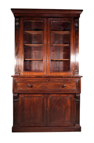Early Victorian Mahogany Glazed Secretaire Bookcase