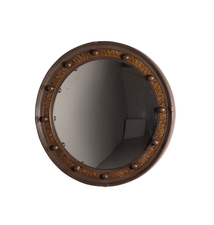 Round Convex Mirror with Faux Tortoiseshell Band and Ball