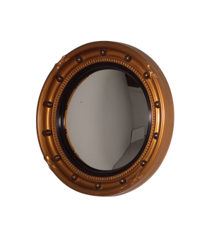 Round Convex Mirror with Gilt Ball Decoration