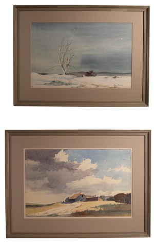 Pair of Watercolour Landscapes by Denis Pannett