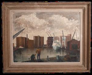 English School Oil on Board of an Industrial Port Scene