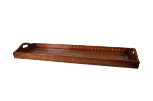 Hardwood Anglo-Indian Tray Inlaid with Mother of Pearl