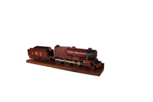 Scratch Built Painted Wooden Model of a Locomotive