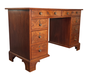 Mahogany and Pine Pedestal Kneehole Desk