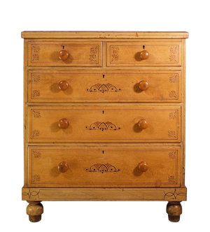 Pine Chest of Drawers with Original Hand Painted Decoration
