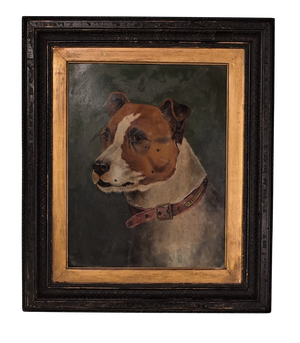 Oil on Board of a Fighting Dog Initialed by the Artist