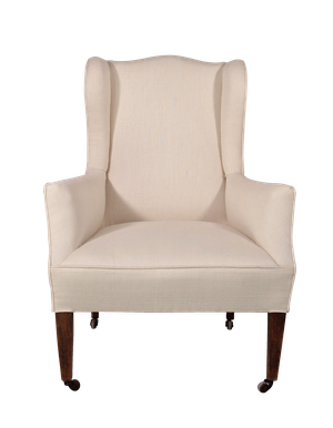 Reupholstered Wingback Armchair on Square Tapering Mahogany Legs