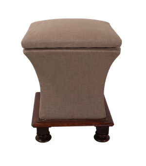 Upholstered Sarcophagus Ottoman Stool on Mahogany Base