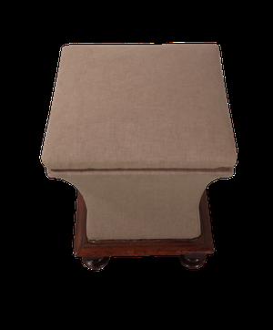Upholstered Sarcophagus Ottoman Stool on Mahogany Base