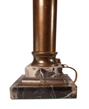 Converted Brass Column Oil Lamp with Etched Glass Section on a Marble Base