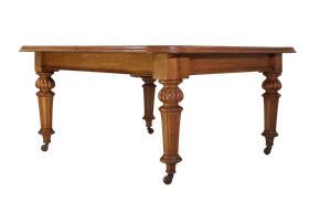 Golden Oak Wind Out Dining Table on Carved Balluster Legs with Three Extension Leaves