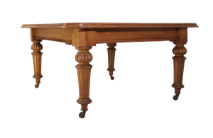 Golden Oak Wind Out Dining Table on Carved Baluster Legs with Three Extension Leaves