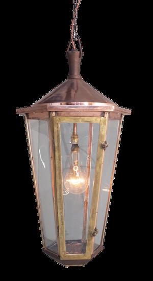 Large Hexagonal Copper Hooded and Brass Framed Street Lantern