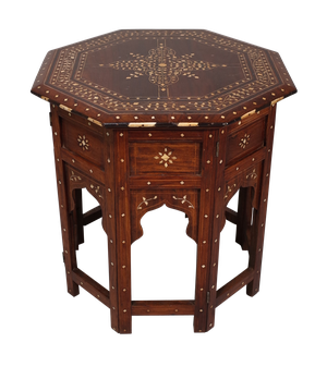 Octagonal Bone Inlaid Table