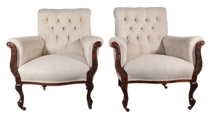Pair of Buttoned Armchairs on Cabriole Legs Upholstered in French Antique Linen