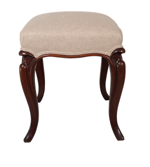 Square Mahogany Upholstered Foot Stool on Cabriole Legs