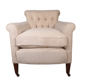 Deep Buttoned Scrollback Armchair Upholstered in French Antique Hemp Linen