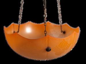 Deco Acid Etched Orange Glass Plaffonier