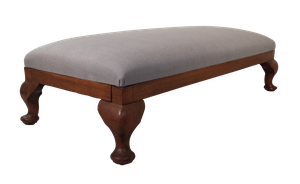 Upholstered Mahogany Long Stool on Cabriole Legs