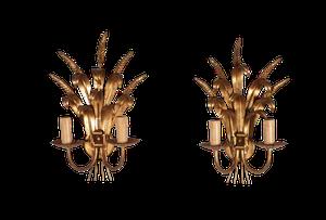 Pair of Gilt Metal Wheatsheaf Wall Sconces
