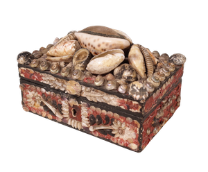 George III Shellwork Mirrored Jewellery Box