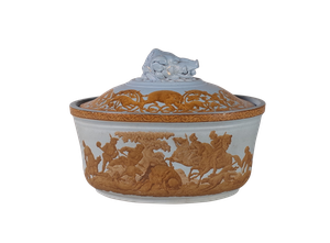 Lidded F & R Pratt Terrine with Wild Boar Hunting Scene