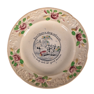 Creamware Motto Plate with Hand Coloured Floral Reliefs