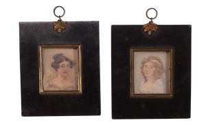 Pair of George III Portrait Miniatures of Two Women in Original Ebonised Frames with Ormolu Gilt Mounts