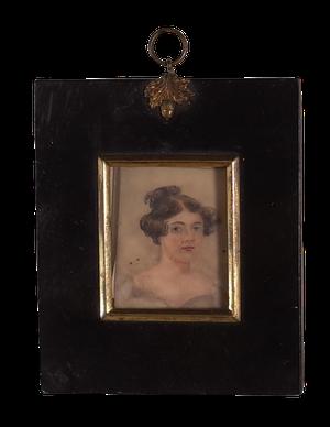 Pair of George III Portrait Miniatures of Two Women in Original Ebonised Frames with Ormolu Gilt Mounts