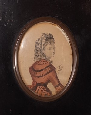 Coloured Engraving of a Lady in Ebonised Frame with Ormolu Gilt Mounts