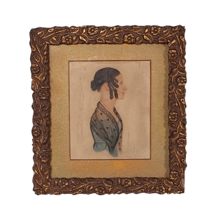 Watercolour Portrait Study of a Georgian Lady in a Carved Gilt Frame