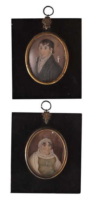 Pair of George III Miniatures of a Lady and Gentleman in Original Ebonised Frames with Ormolu Gilt Mounts