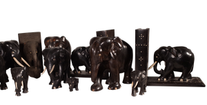 Collection of Eighteen Carved Ebony Elephants