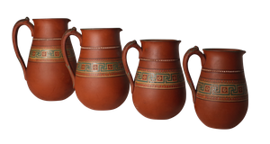 Four Graduating Terre Cuit and Raised Slip Decorated Cream Jugs by F & R Pratt with Greek Key Design
